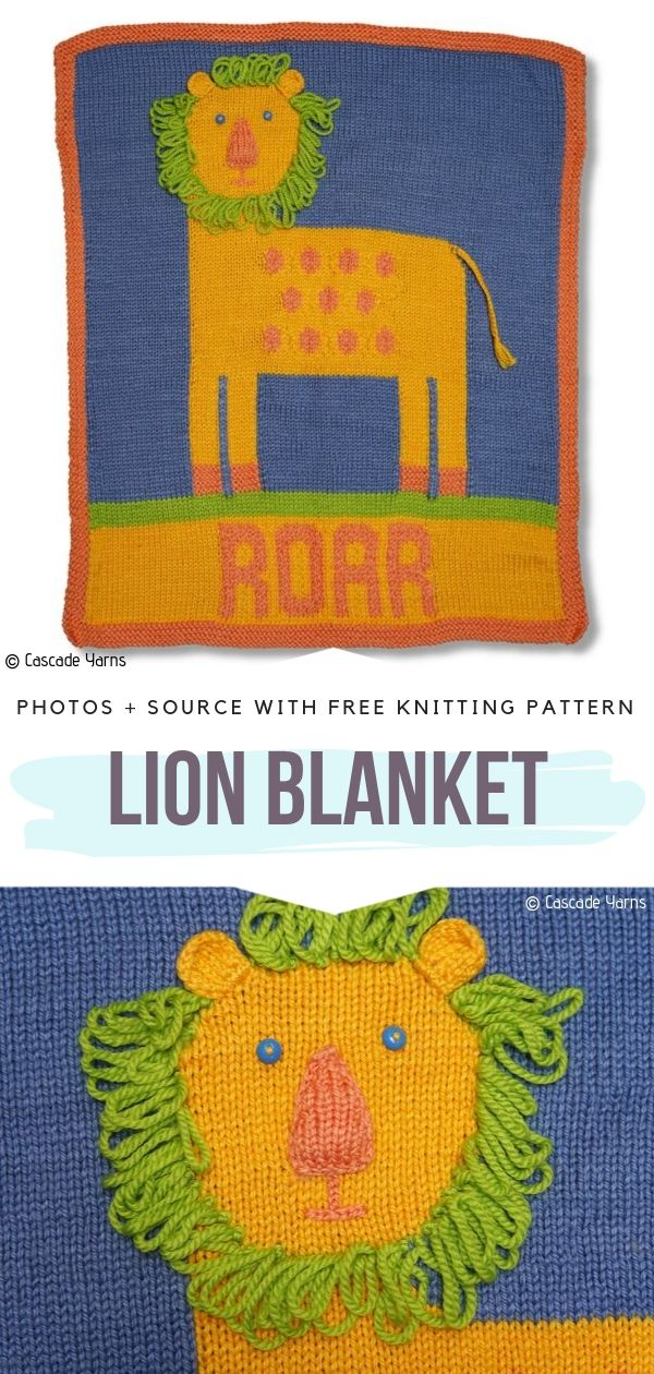 Knitted Blanket with a Lion