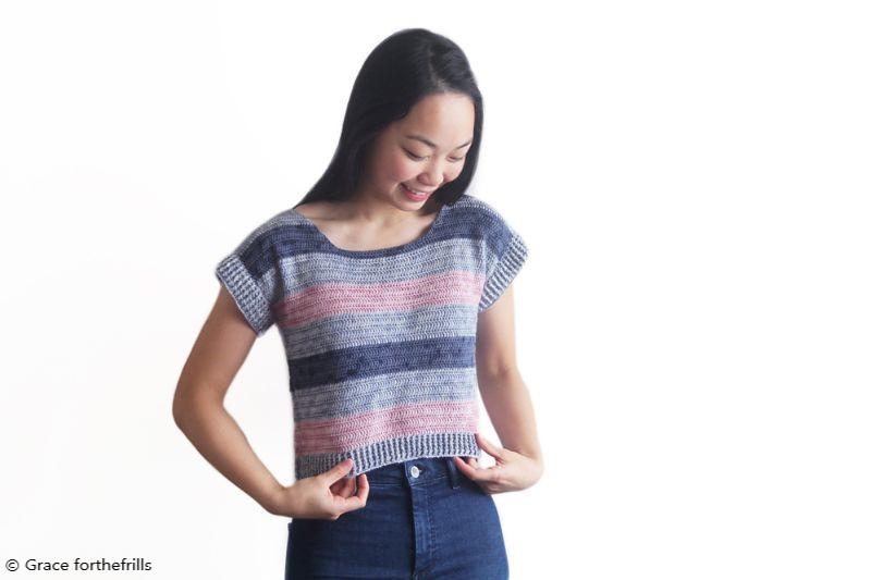Riviera Stripe Tee Free Crochet Pattern