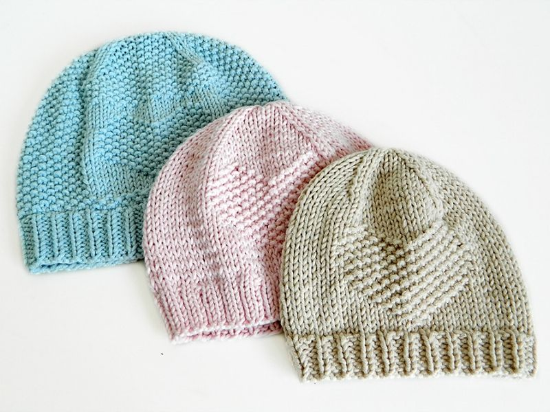Textured Knitted Hats for Kids Free Patterns