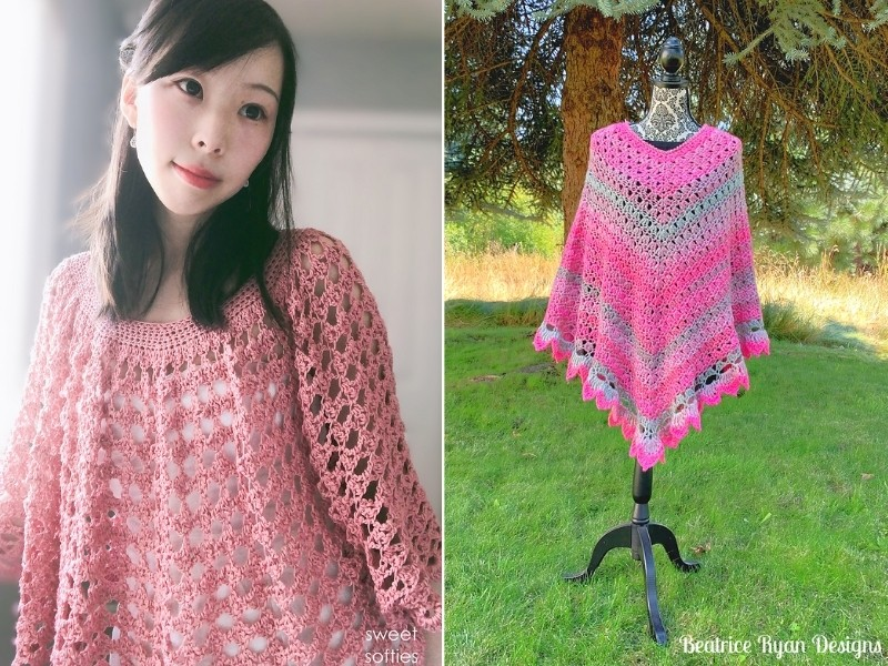 Subtle Pink Poncho Ideas with Free Crochet Patterns