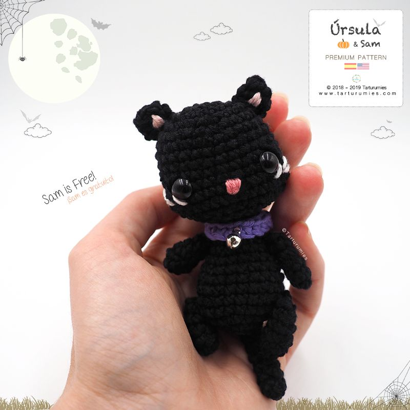 Free Crochet Pattern Amigurumi Black Cat / Gato Negro Halloween