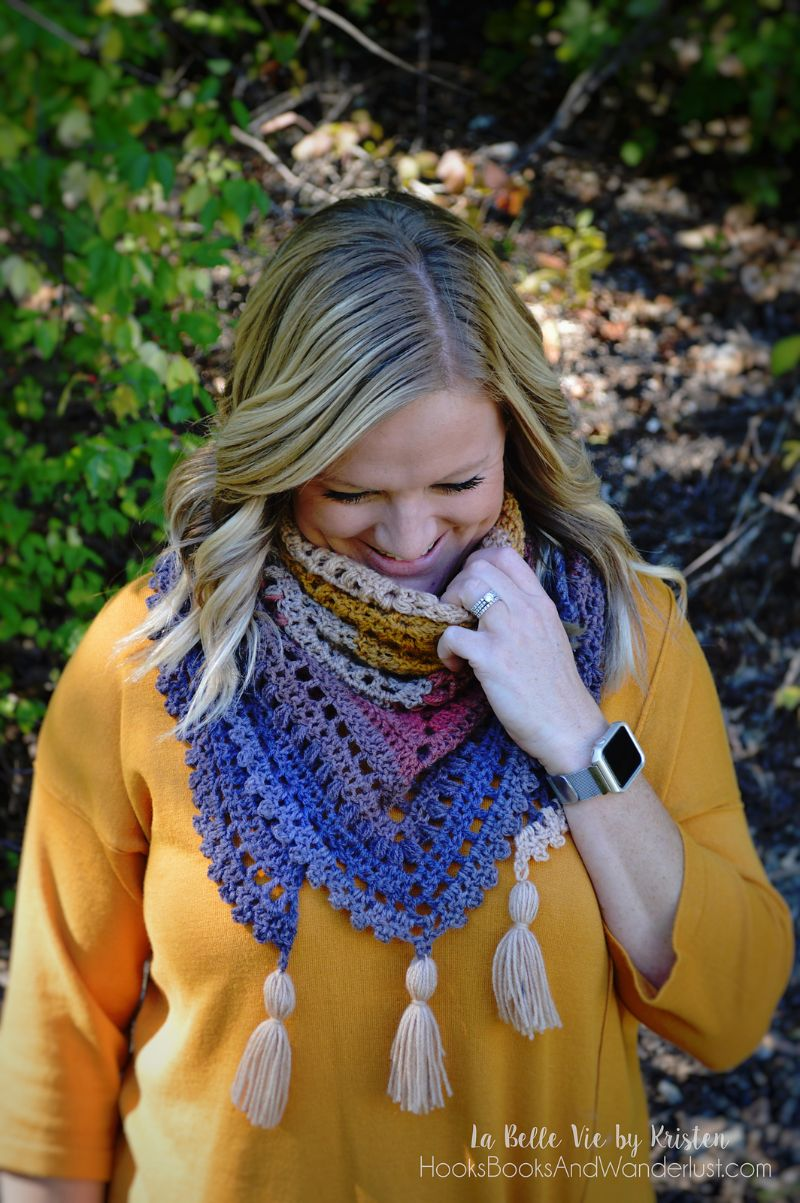 Autumn Walks Triangle Scarf Free Crochet Pattern