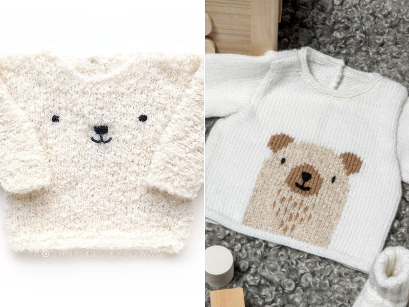 Free Knitting Patterns Beary Cozy Baby Sweaters
