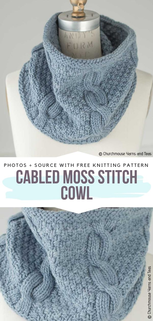 Cabled Moss Stitch Cowl