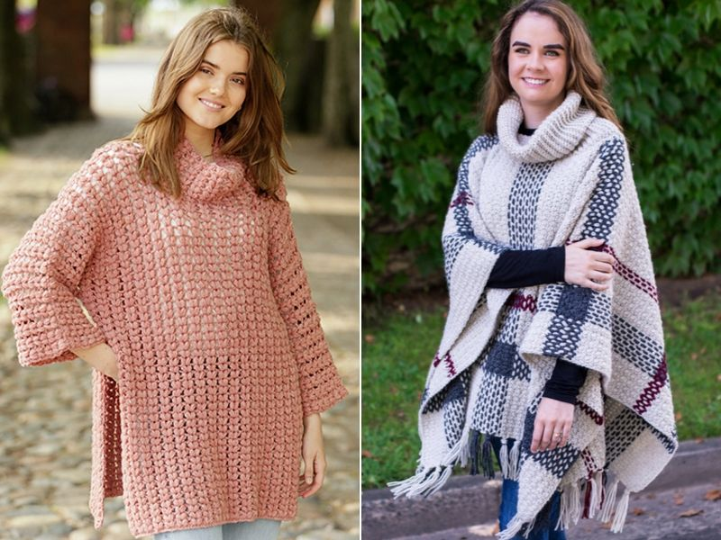 Free Patterns Cowl Neck Crochet Ponchos