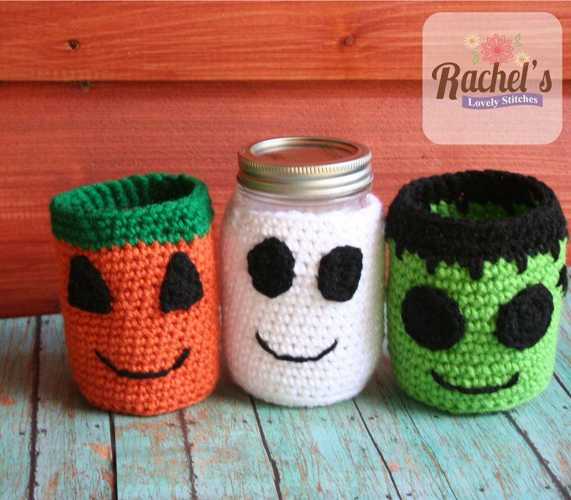 Crochet Halloween Jar Cozy