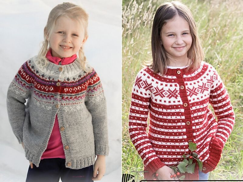 Free Knitting Patterns Festive Cardigans for Kids