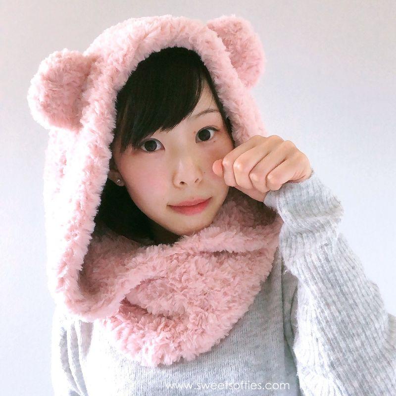 Fluffy Hooded Bear Cowl Free Crochet Pattern