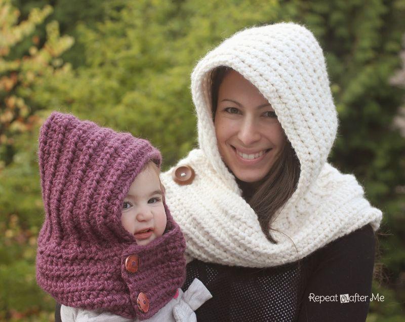 Hooded Crochet Cowl Free Pattern
