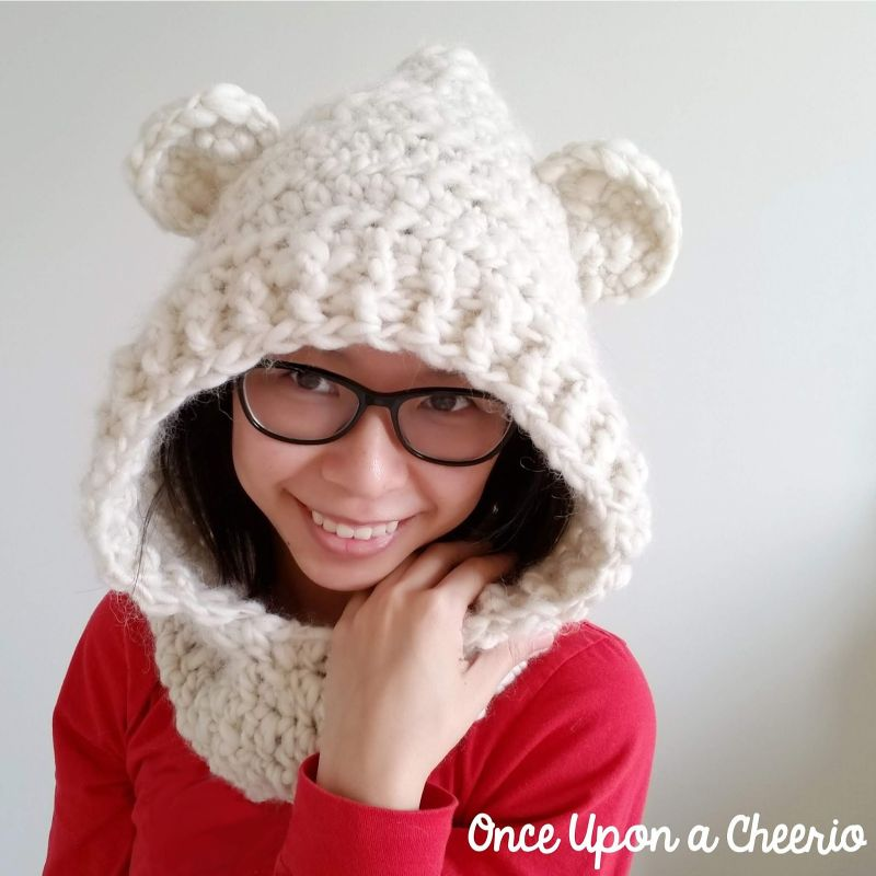 I'll Be Your Mama Bear Hooded Scarf Free Crochet Pattern