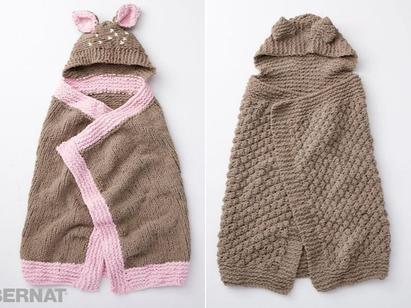 Knitted Hooded Blankets Free Patterns