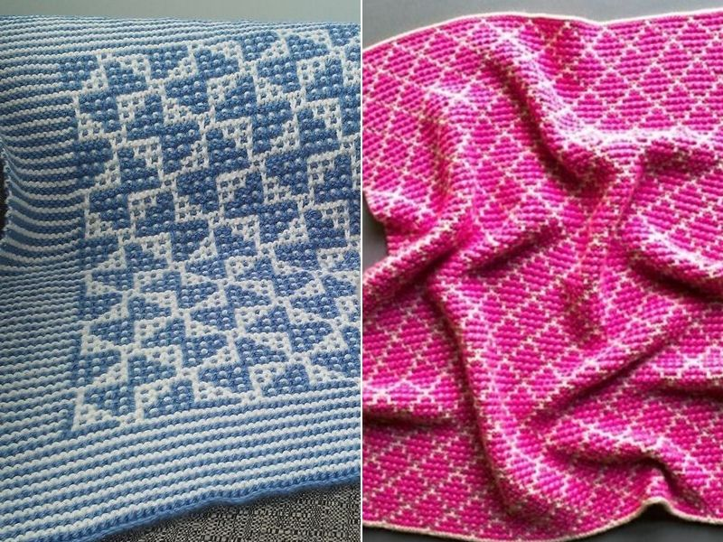 Knitted Mosaic Baby Blankets Free Patterns
