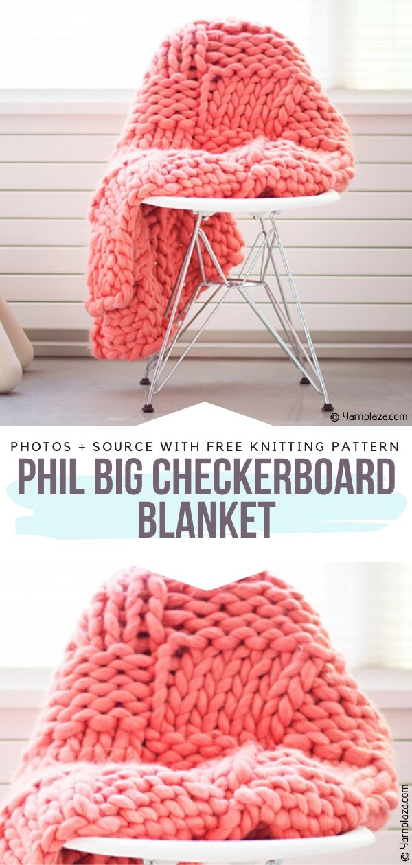 Free Knitting Pattern Phil Big Checkerboard Blanket