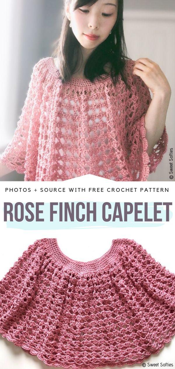 Rose Finch Capelet Free Crochet Pattern