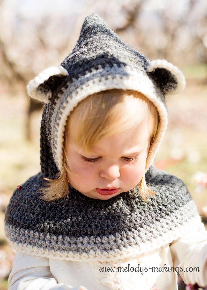 Crochet Raccoon Hooded Cowl