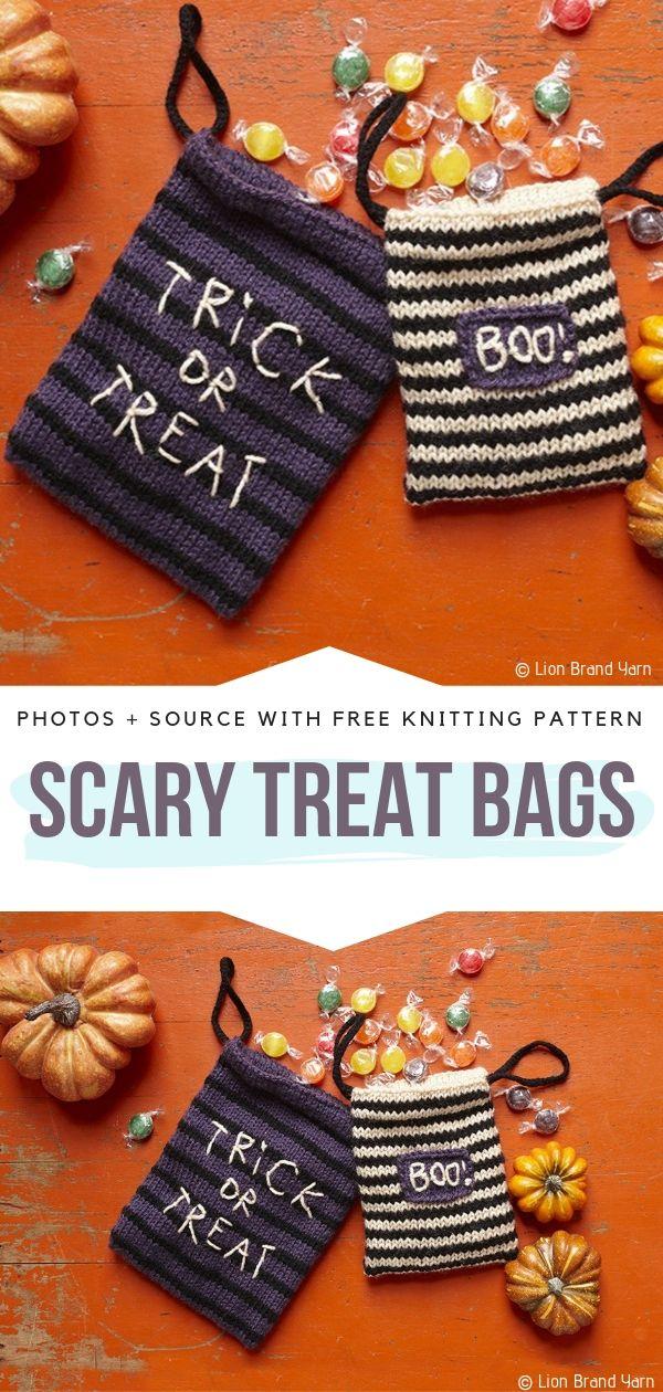 Free Knitting Pattern Scary Treat Bags