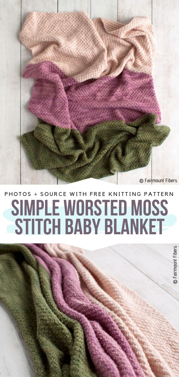 Free Knitting Pattern Simple Worsted Moss Stitch Baby Blanket