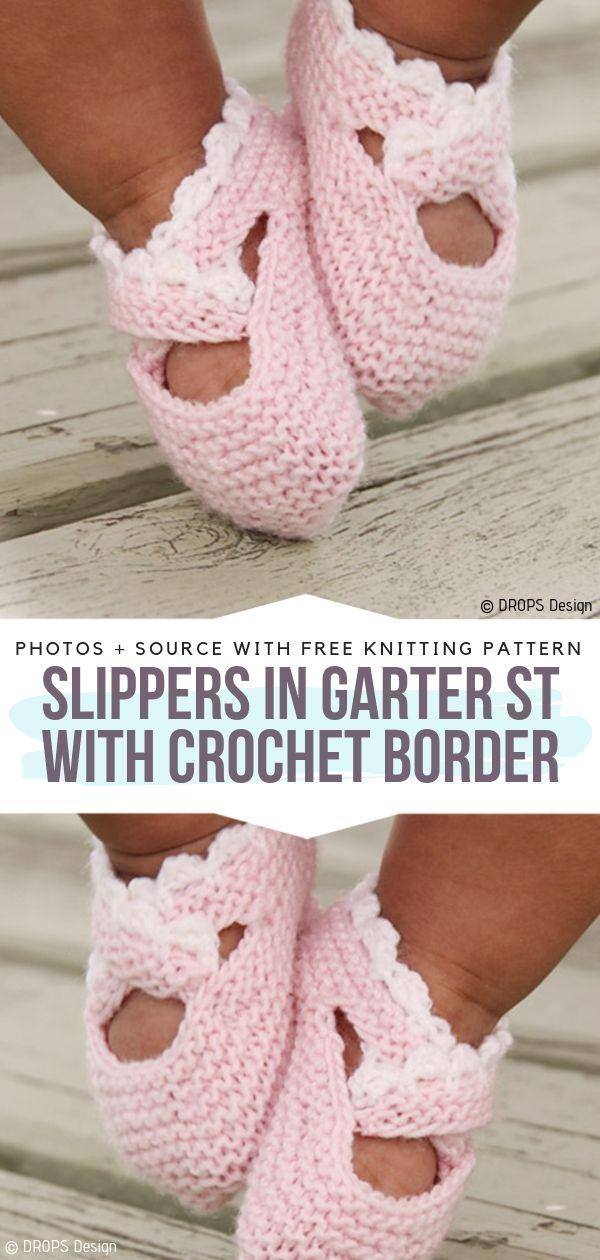 Free Knitting Pattern Slippers in Garter St with Crochet Border