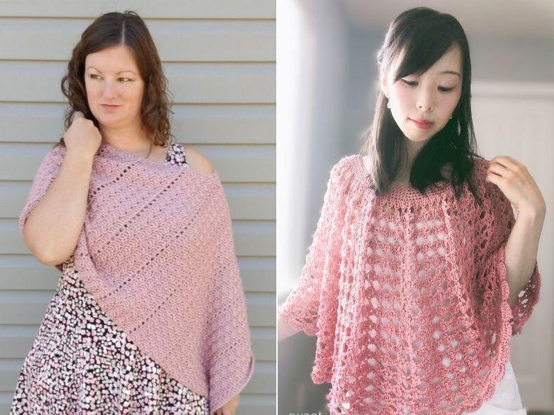 Subtle Pink Poncho Ideas Free Crochet Patterns