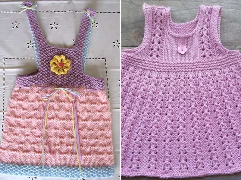 Free Patterns Sweet Knitted Pinafore Dresses