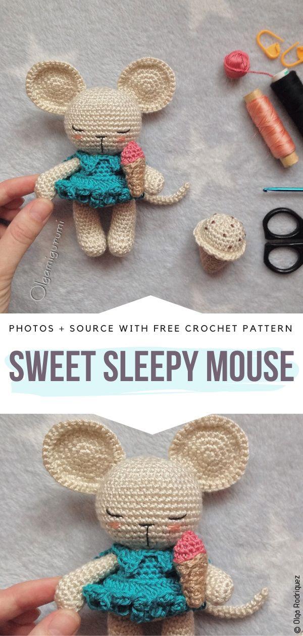 Free Crochet Pattern Sweet Sleepy Mouse