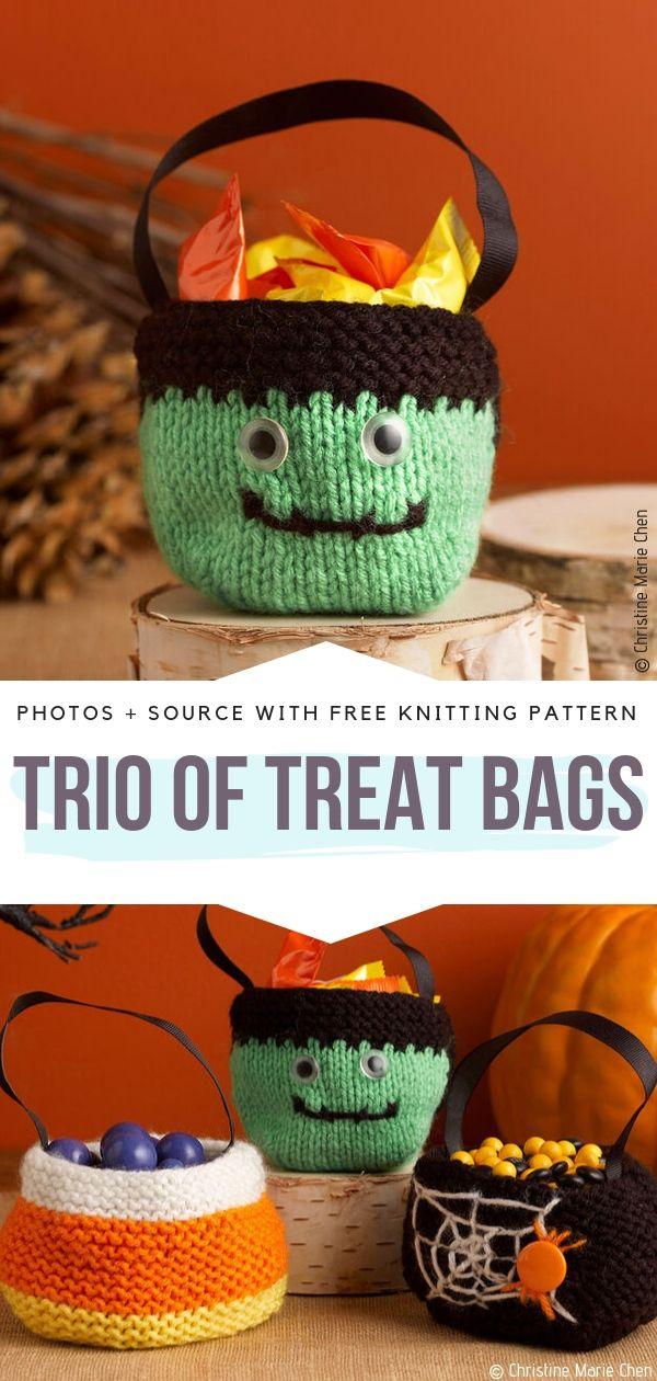 Free Knitting Pattern Trio of Treat Bags