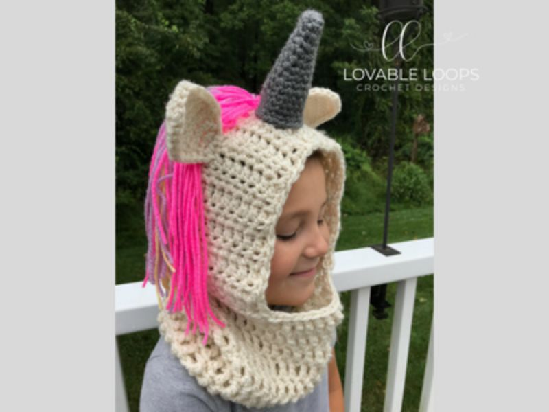 Unicorn Hooded Cowl Free Crochet Pattern