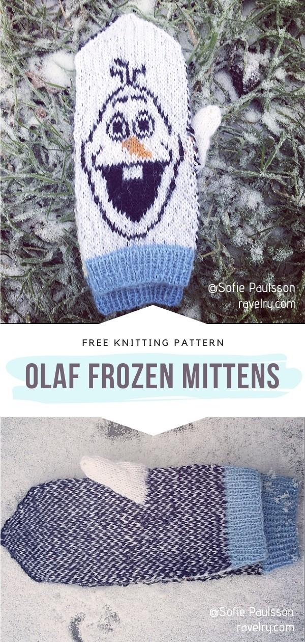 Mittens with Olaf from Frozen