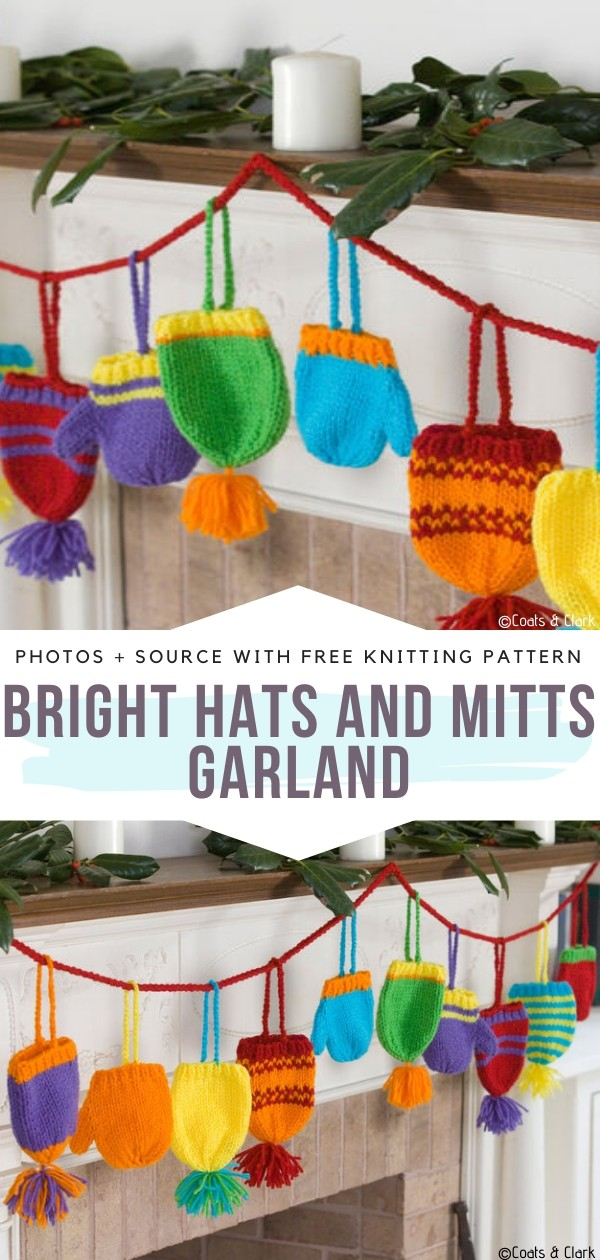 Bright Hats and Mitts Garland Free Knitting Pattern