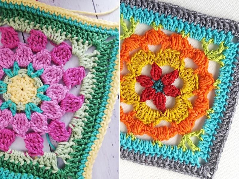 Burst of Color Squares Free Crochet Patterns