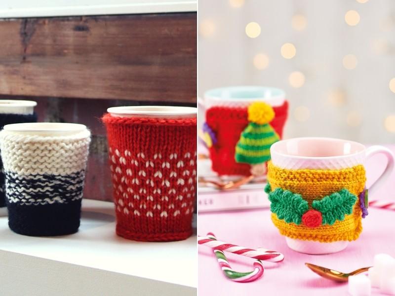 Festive Mug Cozies Free Knitting Pattern