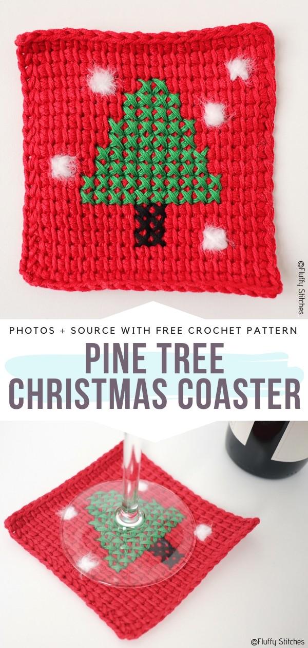 Pine Tree Christmas Coasters