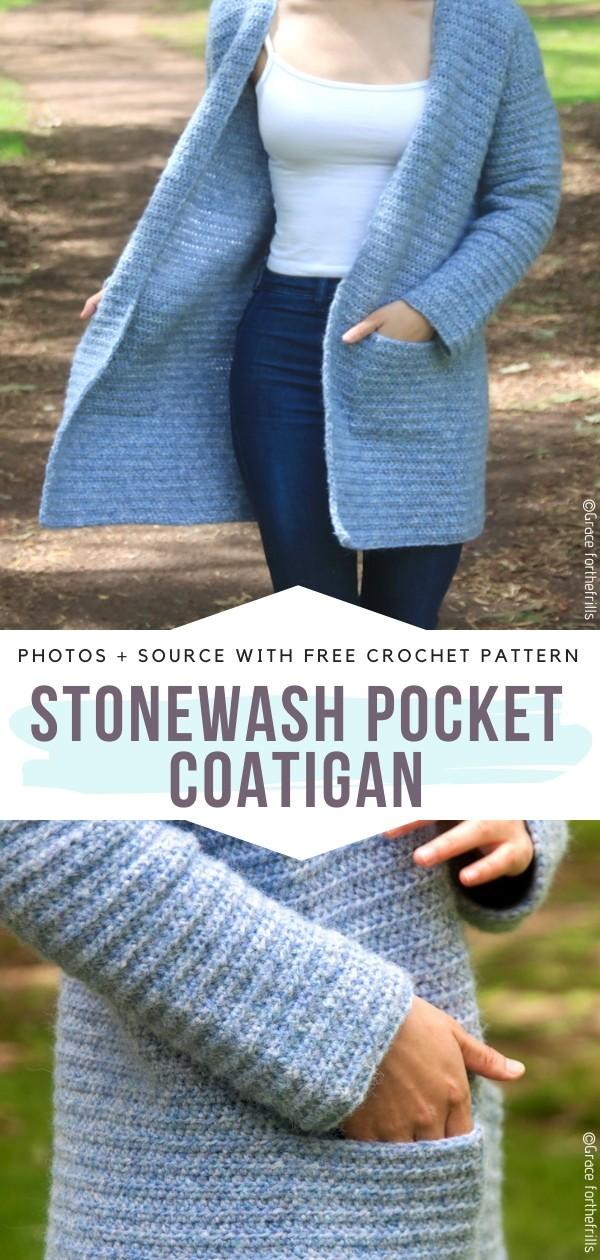 Stonewash Pocket Coatigan Free Crochet Pattern
