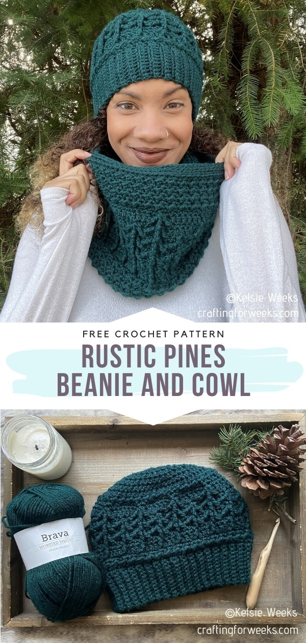 Rustic Pines Beanie and Cowl