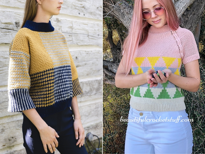 Color Block Pullovers Free Crochet Patterns