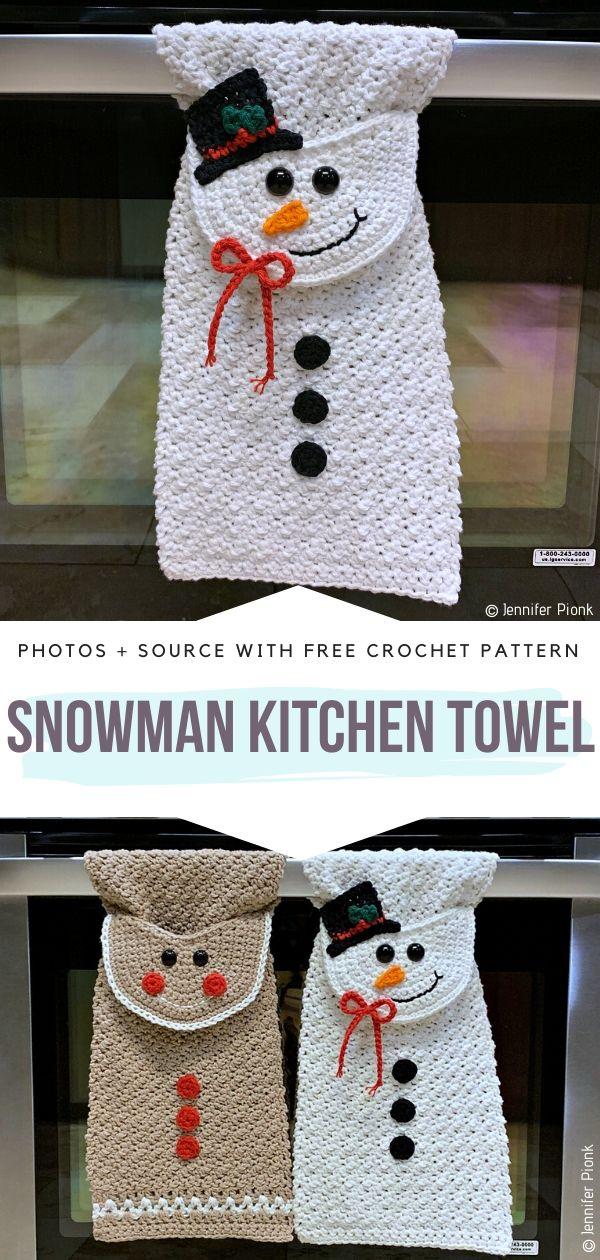 Crochet Snowman Kitchen Towel