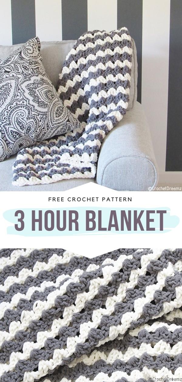 3 Hour Blanket Free Crochet Pattern