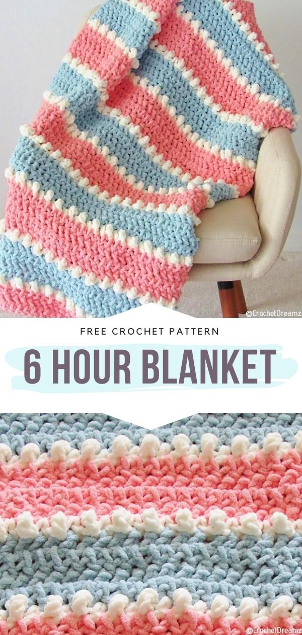 6 Hour Blanket Free Crochet Pattern