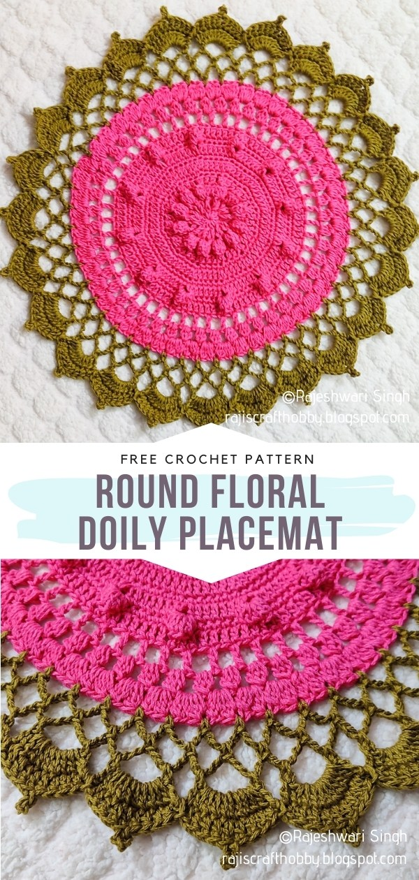 Round Floral Doily Placemat