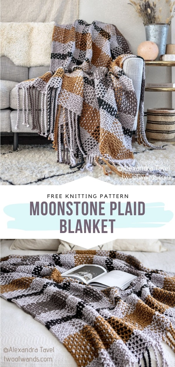 Knitted Plaid Blanket