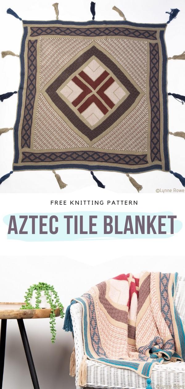 Aztec Tile Blanket Free Knitting Pattern