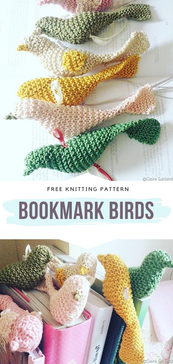 Bookmark Birds Free Knitting Pattern