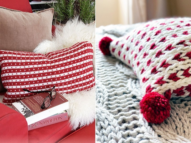 Comfy Christmas Pillows Free Knitting Patterns