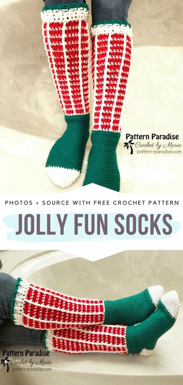 Jolly Fun Socks Free Crochet Pattern
