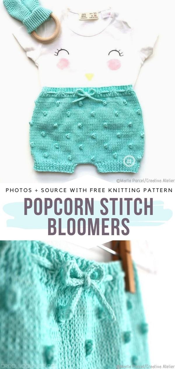 Popcorn Stitch Bloomers Free Knitting Pattern