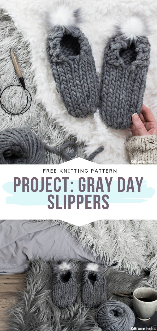Project Gray Day Slippers Free Knitting Pattern