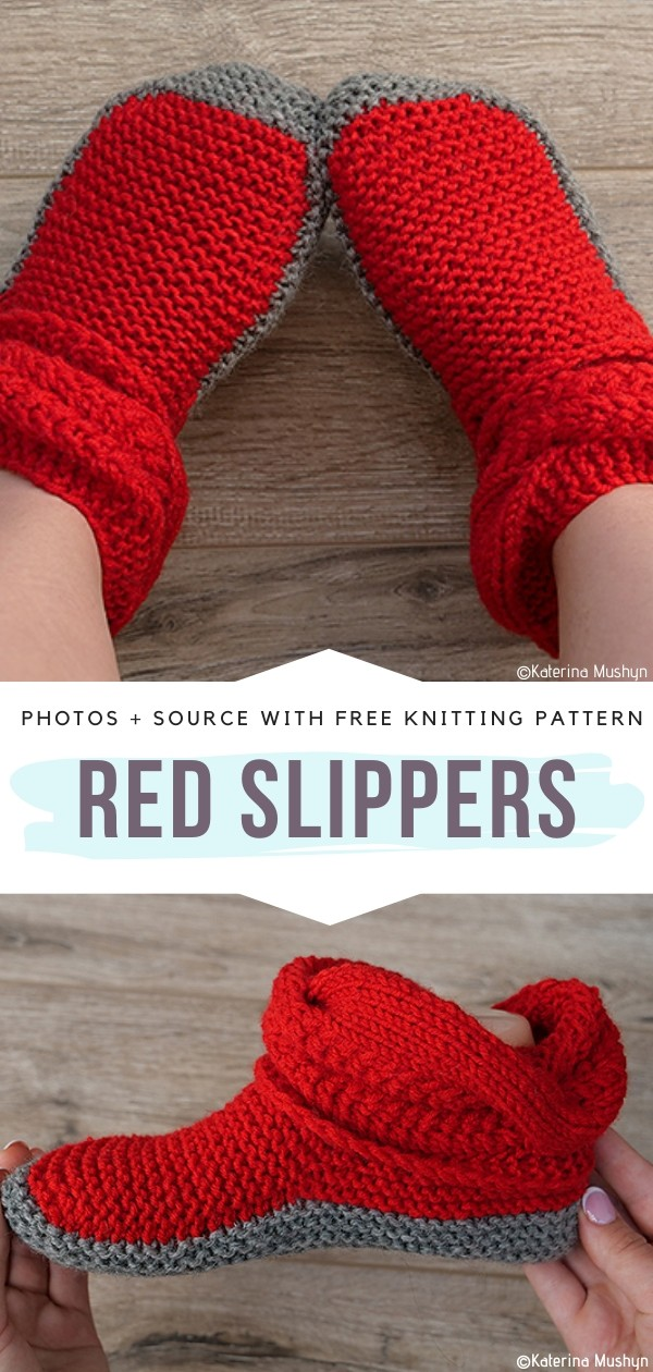 Red Slippers Free Knitting Pattern