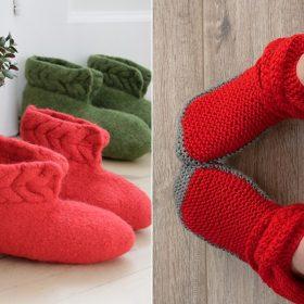 Santa's Cozy Slippers Free Knitting Patterns