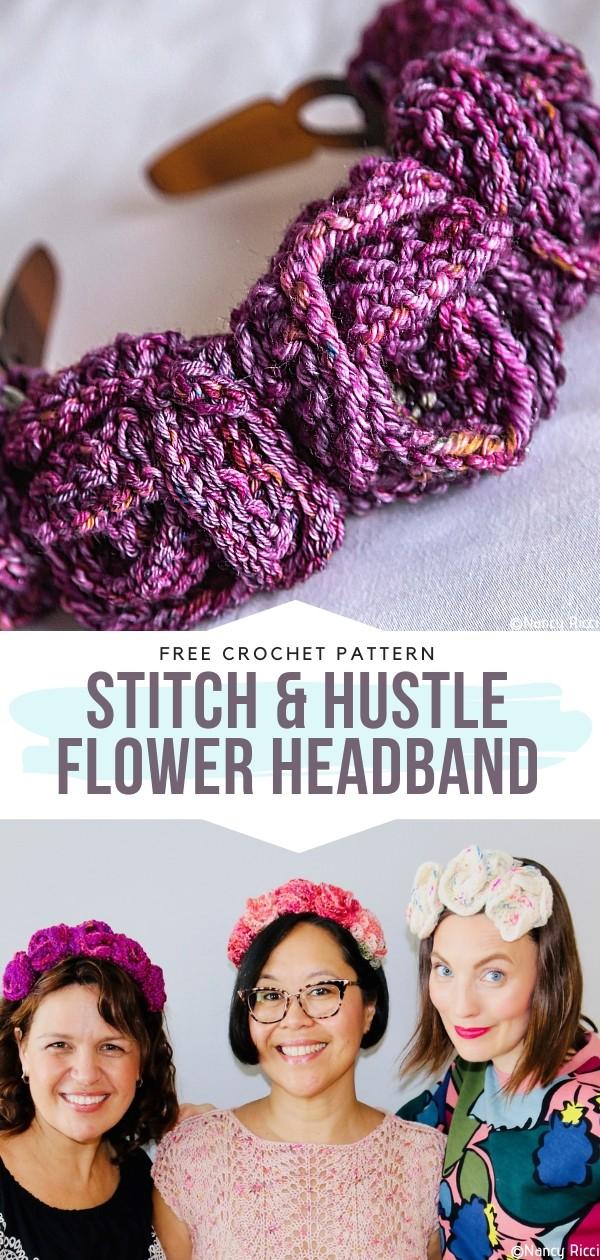 Stitch & Hustle Flower Headband Free Crochet Pattern
