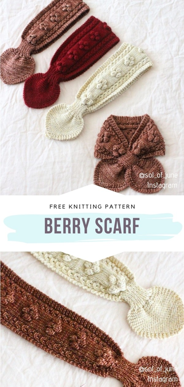 Knitted Berry Scarf
